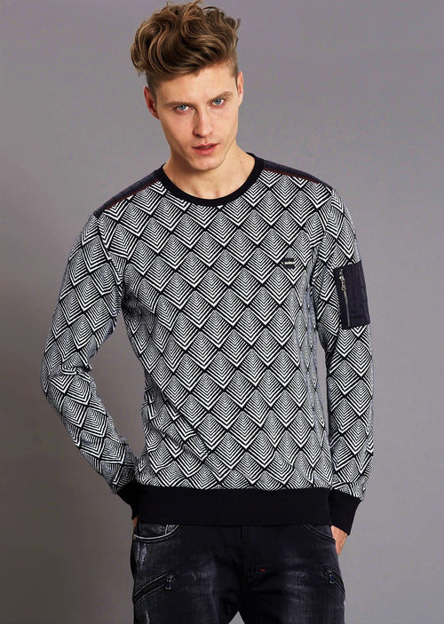 Black Triangle Zipper Sweater