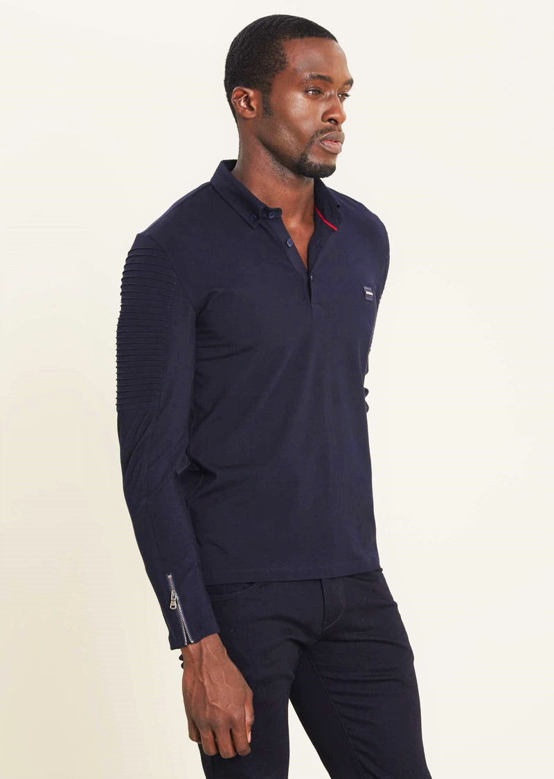 Black Quilted Long Sleeve Polo