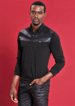 Black Leather Trim Long Sleeve Polo