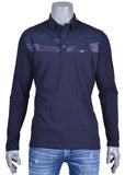 Navy Leather Trim Long Sleeve Polo