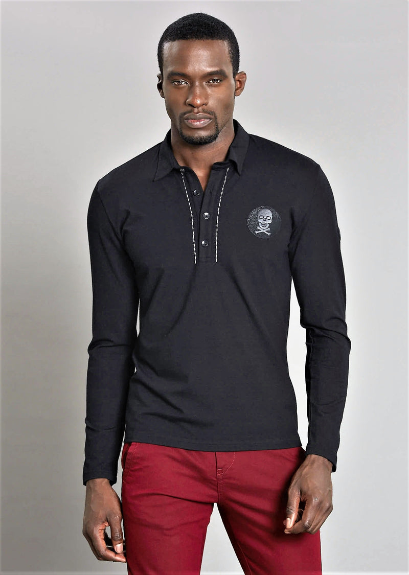 "Black ""Skull"" Embroidery  Polo"