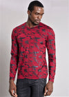 Burgundy Camouflage Long Sleeve Tee