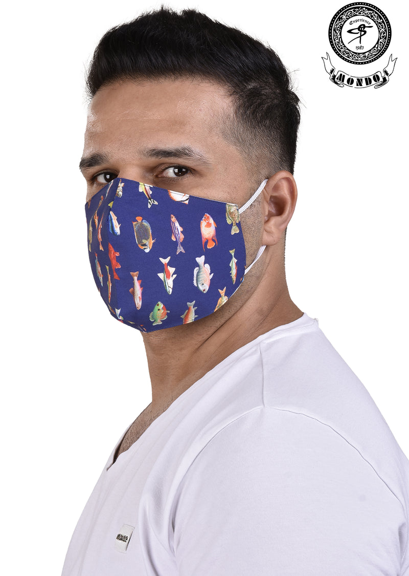 Multi-Color Fish Print Mask