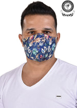 Blue Floral & Bird Print Mask