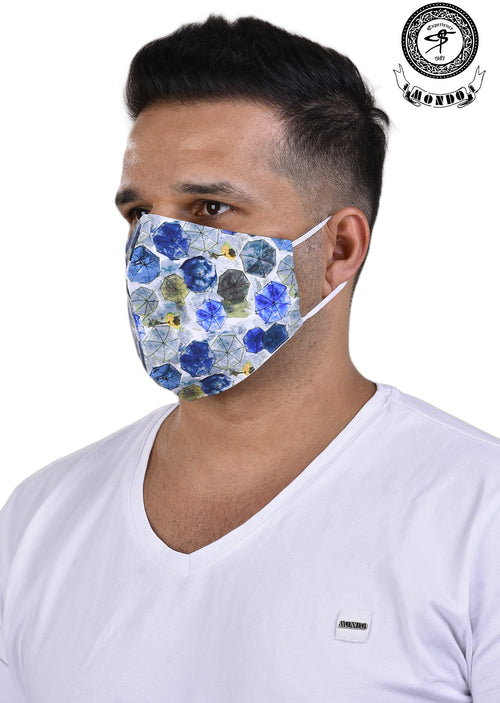 Blue Umbrella Print Mask