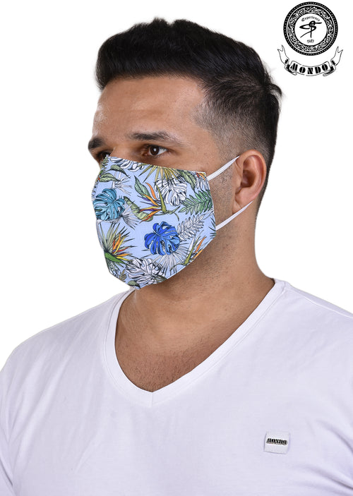 Green Palm Leaf Print Mask