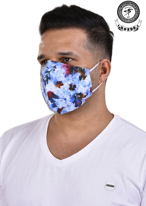 White Floral-Butterfly Print Mask