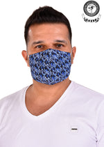 Blue Abstract Print Mask