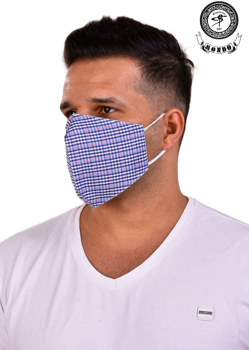 Blue Plaid Print Mask
