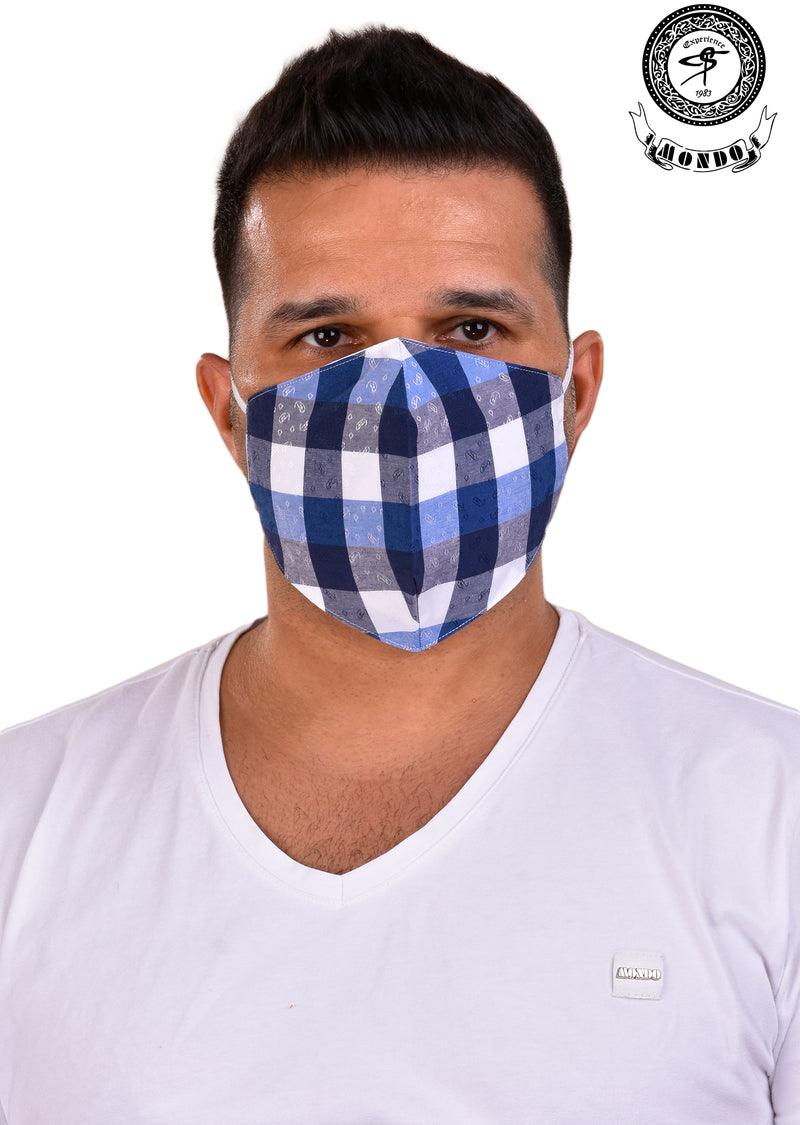 White Plaid Print Mask