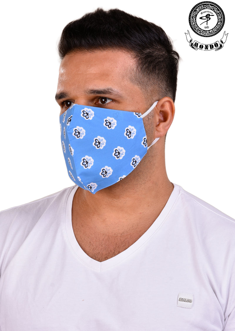 Blue Bloom Print Mask