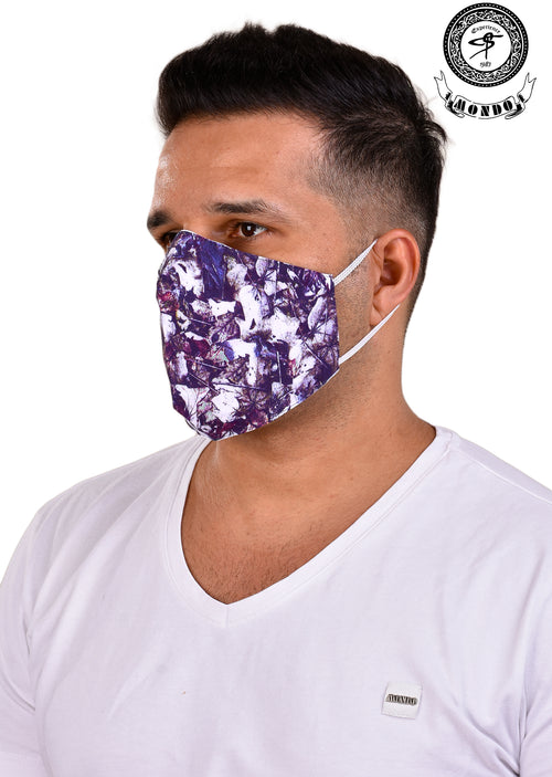 Purple Abstract Print Mask