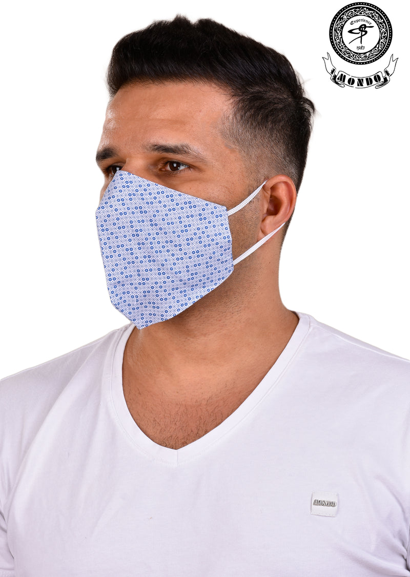 Light Blue Circle Print Mask