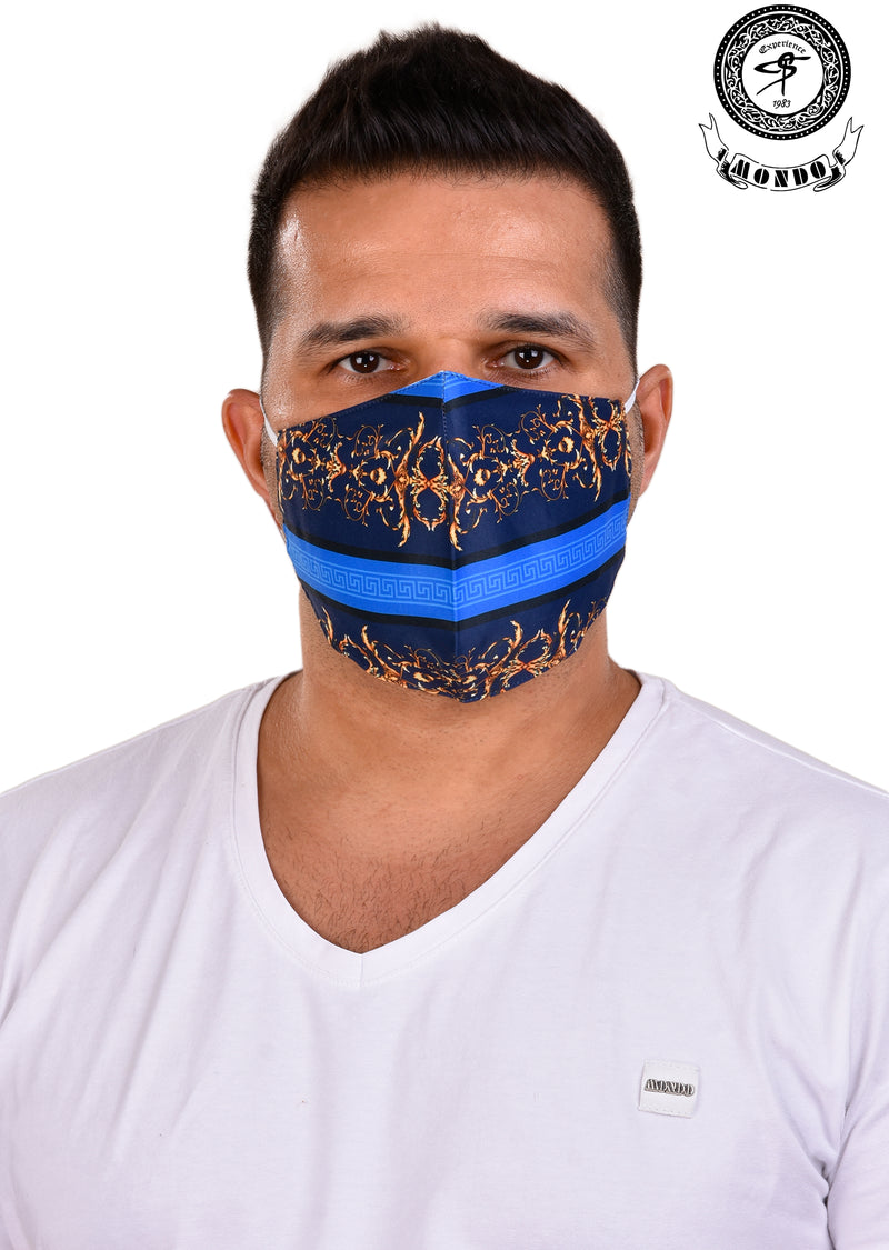 Blue Gold Barocco Print Mask