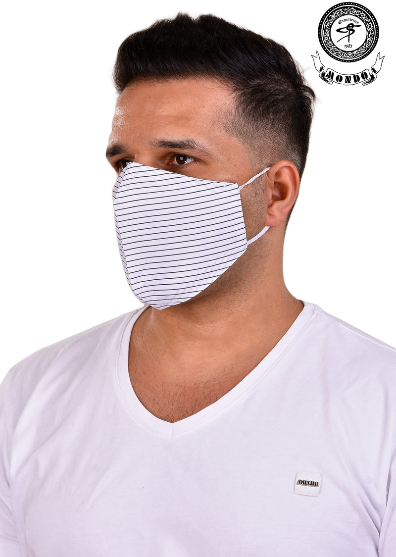 White Stripe Print Mask