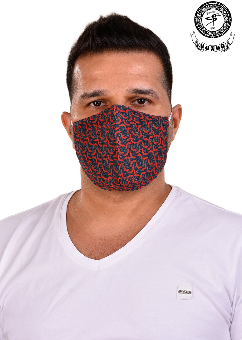 Red Micro Print Mask