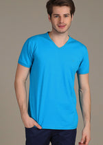 Blue Luxury Cotton V-neck Tee