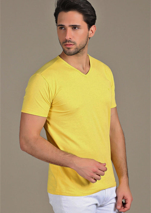 Yellow Luxury Cotton V-neck Tee