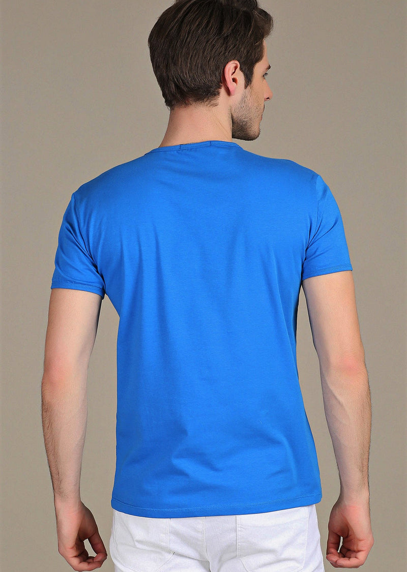 Royal Blue Luxury Cotton V-neck Tee