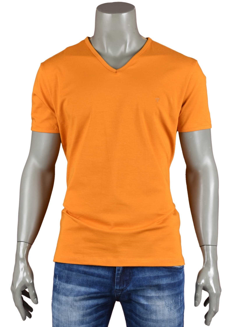 Orange Luxury Cotton V-neck Tee