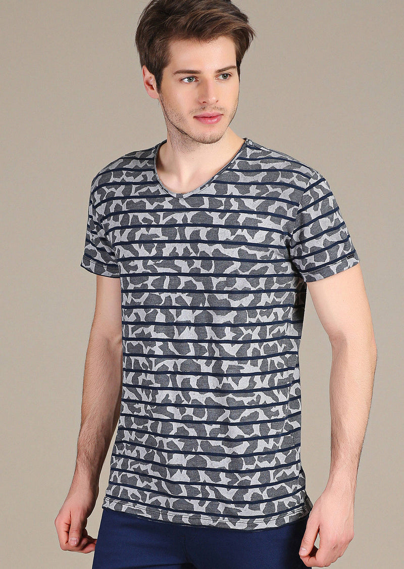 Gray Blue Stripe Luxury Cotton Tee