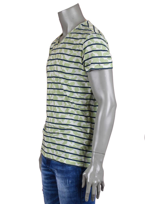 Green Blue Stripe Luxury Cotton Tee