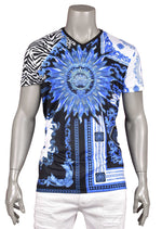 "Blue ""The Sun"" Print V-neck Tee"