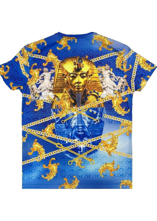"Blue ""Pharoah"" Face V-neck Tee"