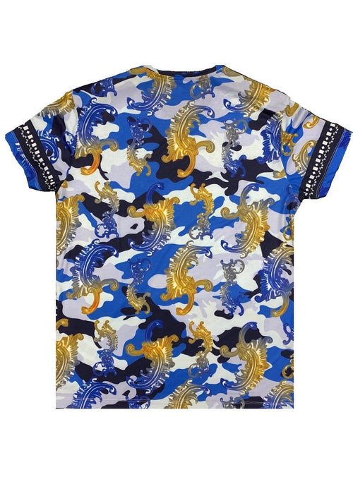 Blue Floral Ornament Digital Print Tee