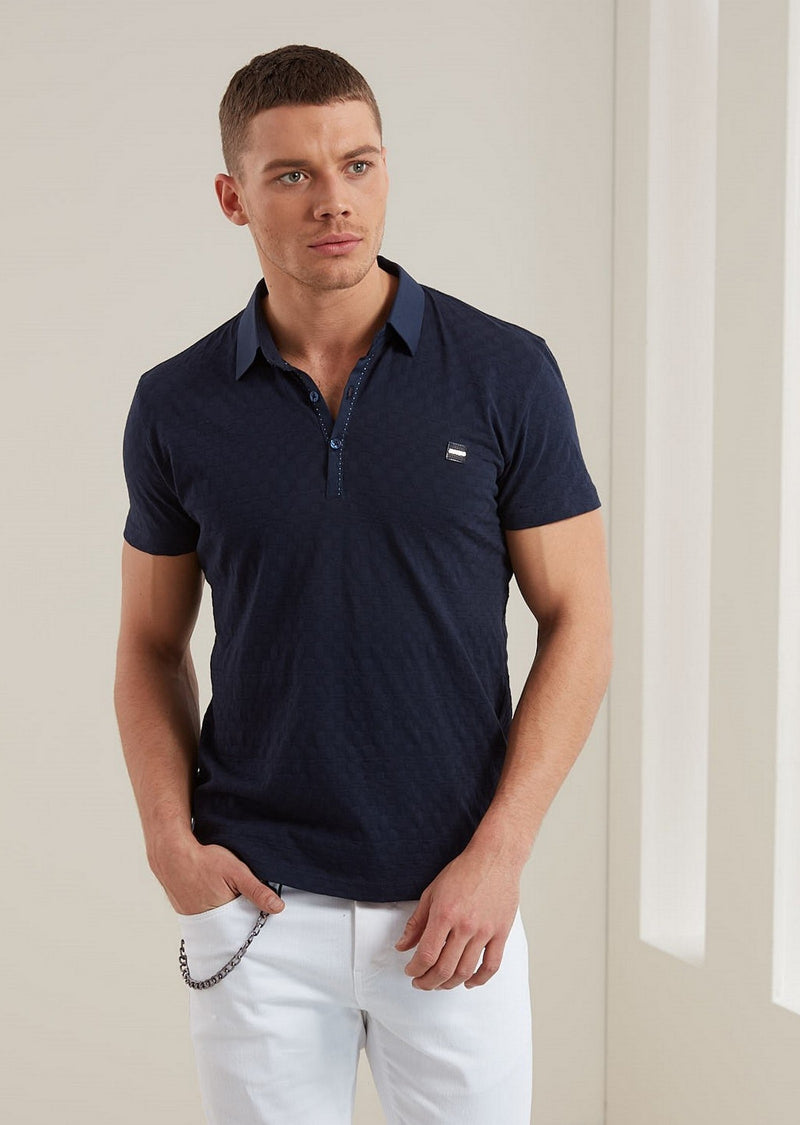 Blue Square Textured Weave Polo
