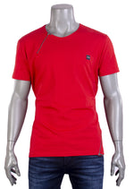 Red Double Zipper Tee