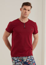 Burgundy Sporty Zipper Tee