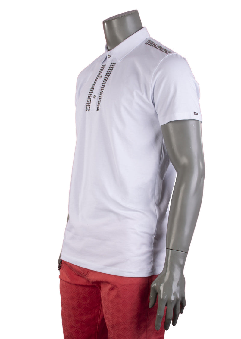 "White ""Angels"" Shoulder Studded Polo"