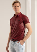 Burgundy Shine Waxed Polo