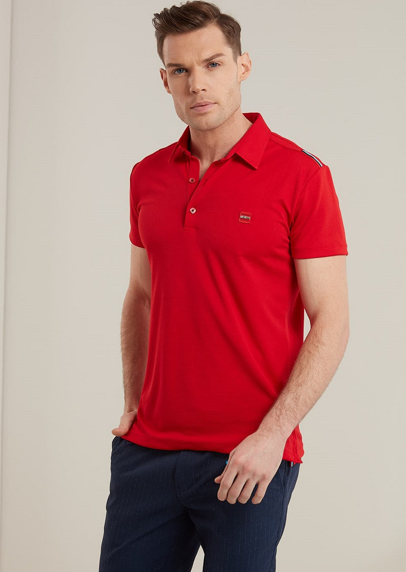 Red Performance Mesh Tape Polo