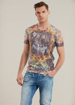 Gray Yellow Burn-out Tiger Print Tee