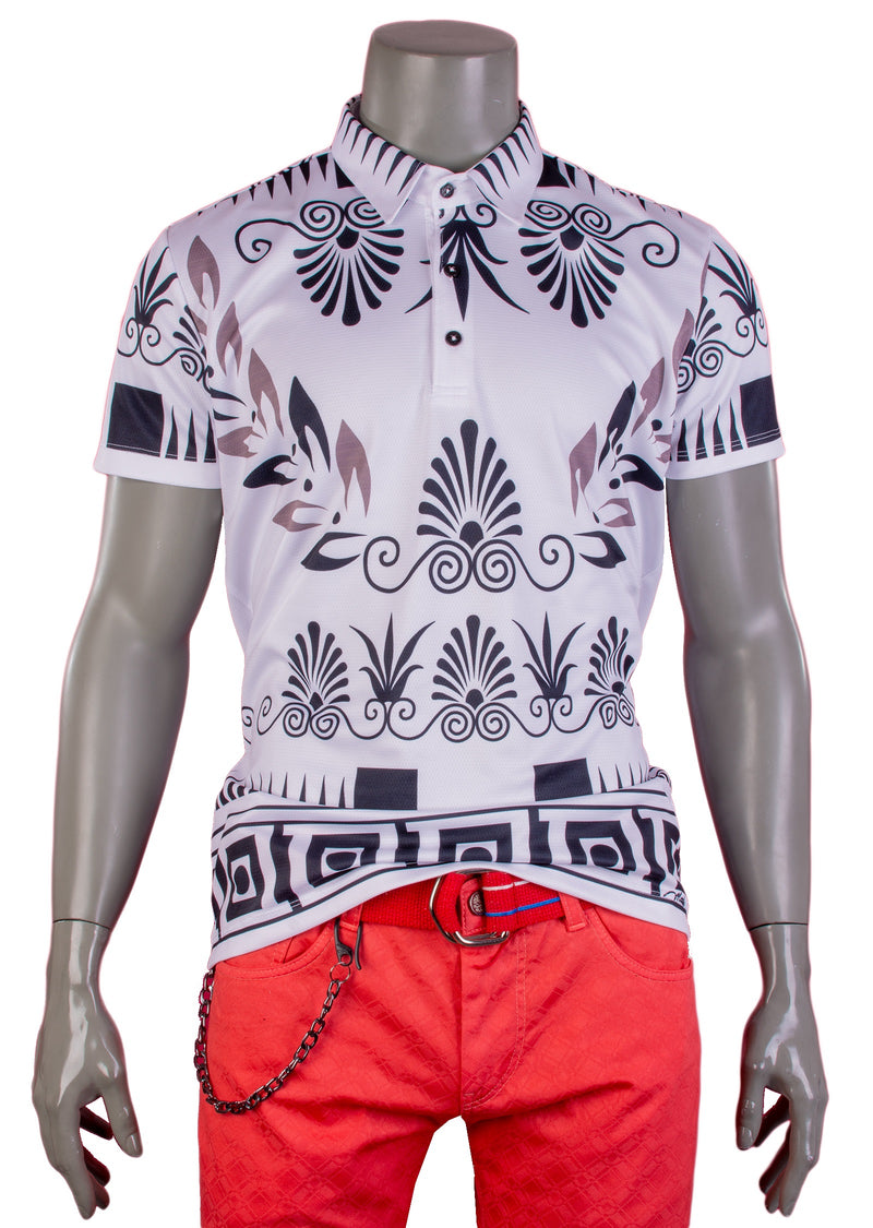 White Black Ancient Motif Print Polo