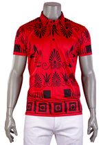 Red Black Ancient Motif Print Polo