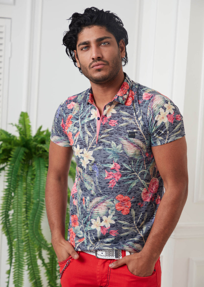 Multi-Color Floral Devoré Print Polo