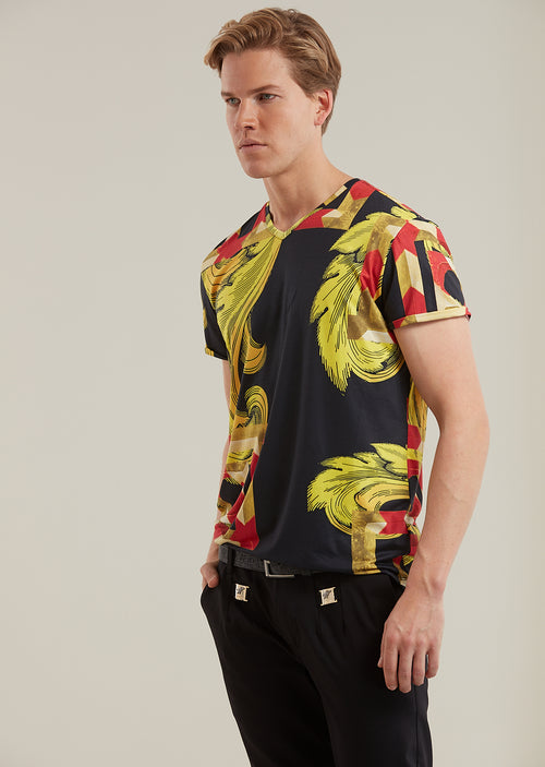 Black Gold Crest Print V-neck Tee