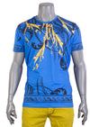 Royal Blue Ancient Greek Key Print Tee