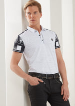 White Black Key Print Polo