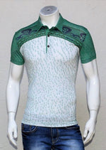 Green White Digital Print Polo