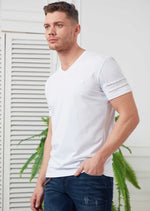 White Silver Zipper Detailed Tee