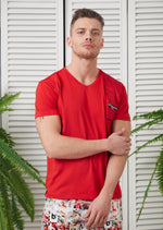 Red Zipper & Quilted Tee