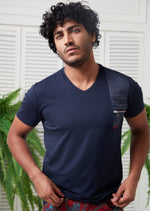 Navy Zipper & Quilted Tee