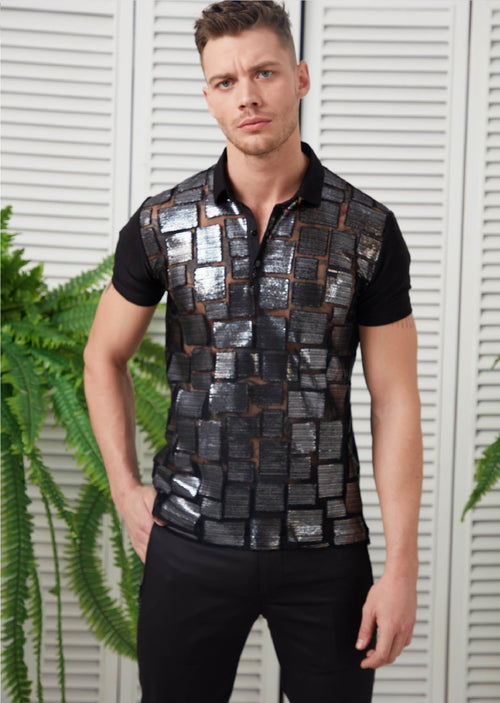 Black Metallic Semi-Sheer Polo
