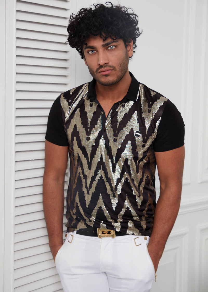 Black Gold Metallic Sequin Polo
