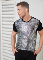 Black Crocodile Print Tee