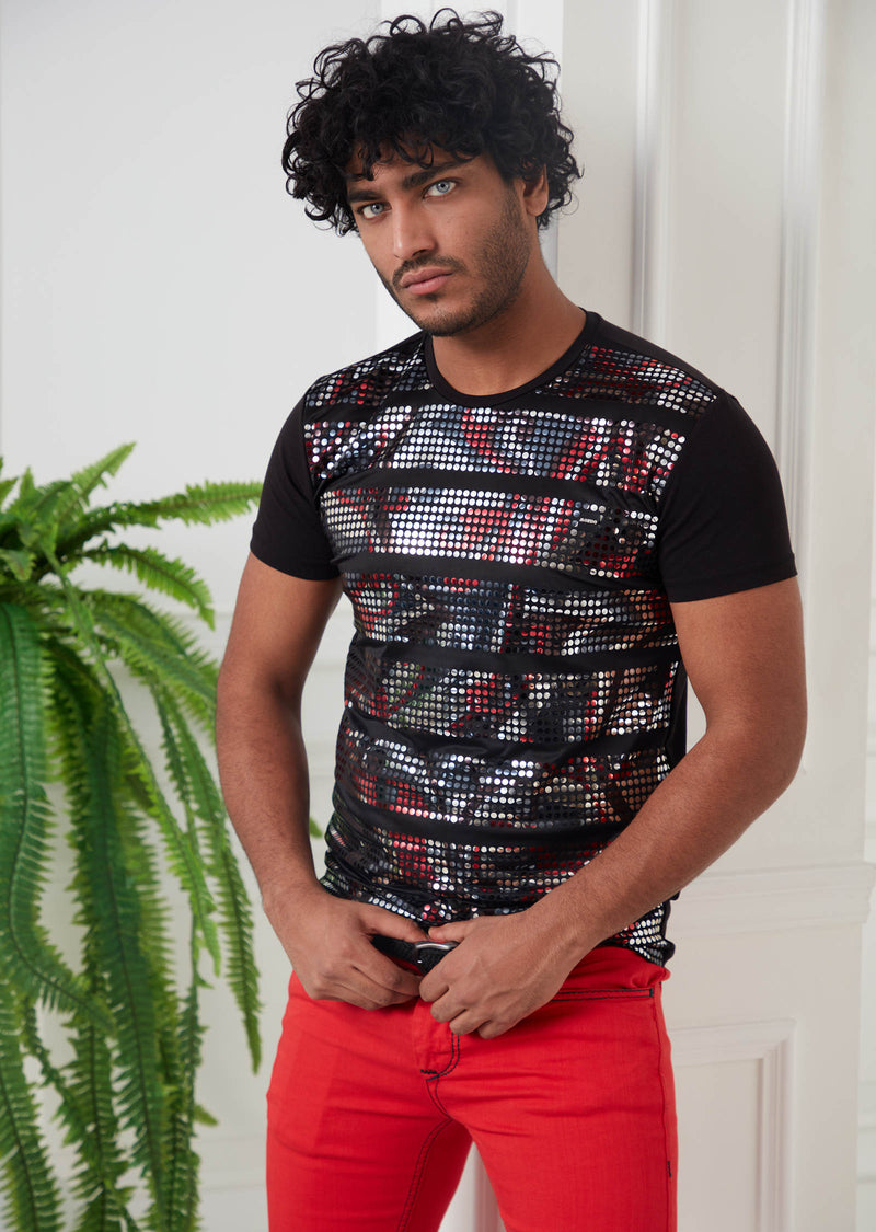 Black Red Holographic Tee